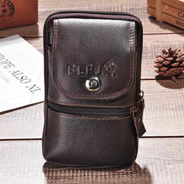 Vintage Genuine Leather 6 Inch Phone Bag Waist Bag Crossbody Bag For Men