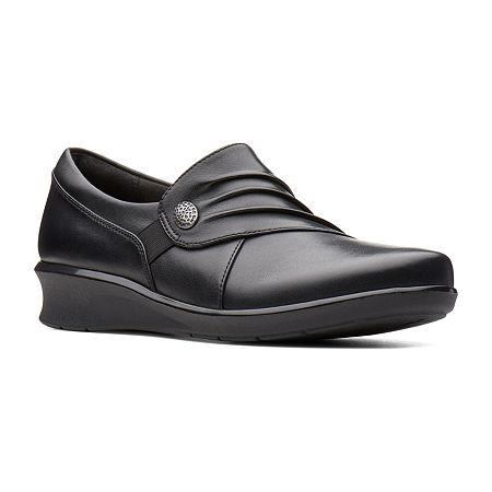 Clarks Hope Roxanne Womens Closed Toe Slip-On Shoes, 9 1/2 Medium, Black