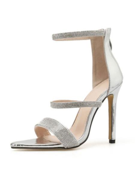 Milanoo High Heel Sandals Womens Studded Open Toe Ankle Strap Stiletto Heel Sandals