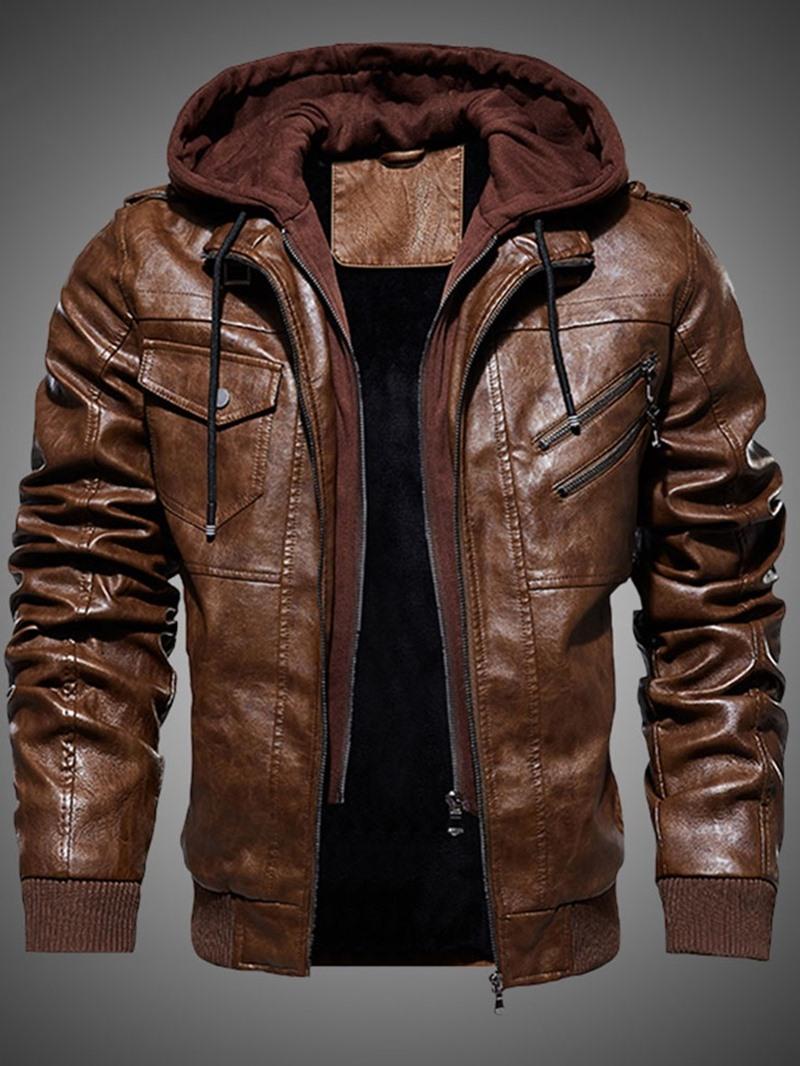 Ericdress Plain Zipper Hooded Men's Slim Jacket