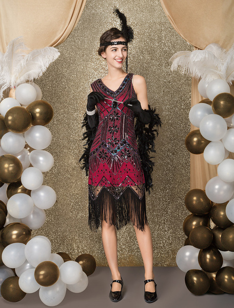 Milanoo Great Gatsby Dress 1920s Fashion Vintage Style Black Sequined Tassels Flapper Girl Dress Vintage Costume Halloween