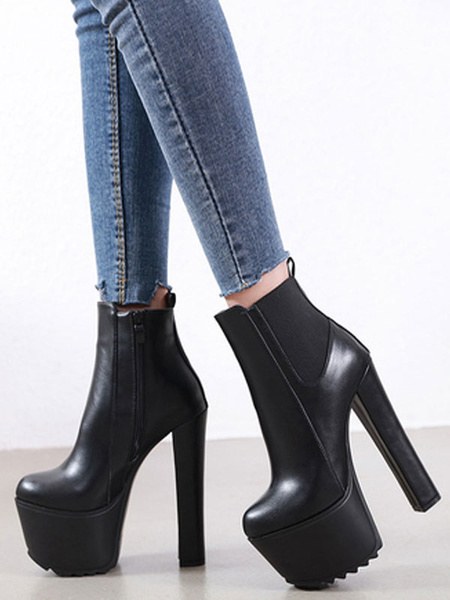 Milanoo Women Ankle Boots Black PU Leather Round Toe Block Heel Booties