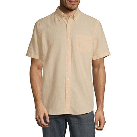 St. John's Bay Mens Short Sleeve Button-Down Shirt, Small , White