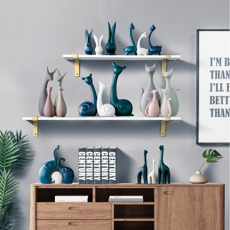 Nordic White Blue Ceramic Figurines Home Decoration Crafts Livingroom Desktop Animal Ornaments