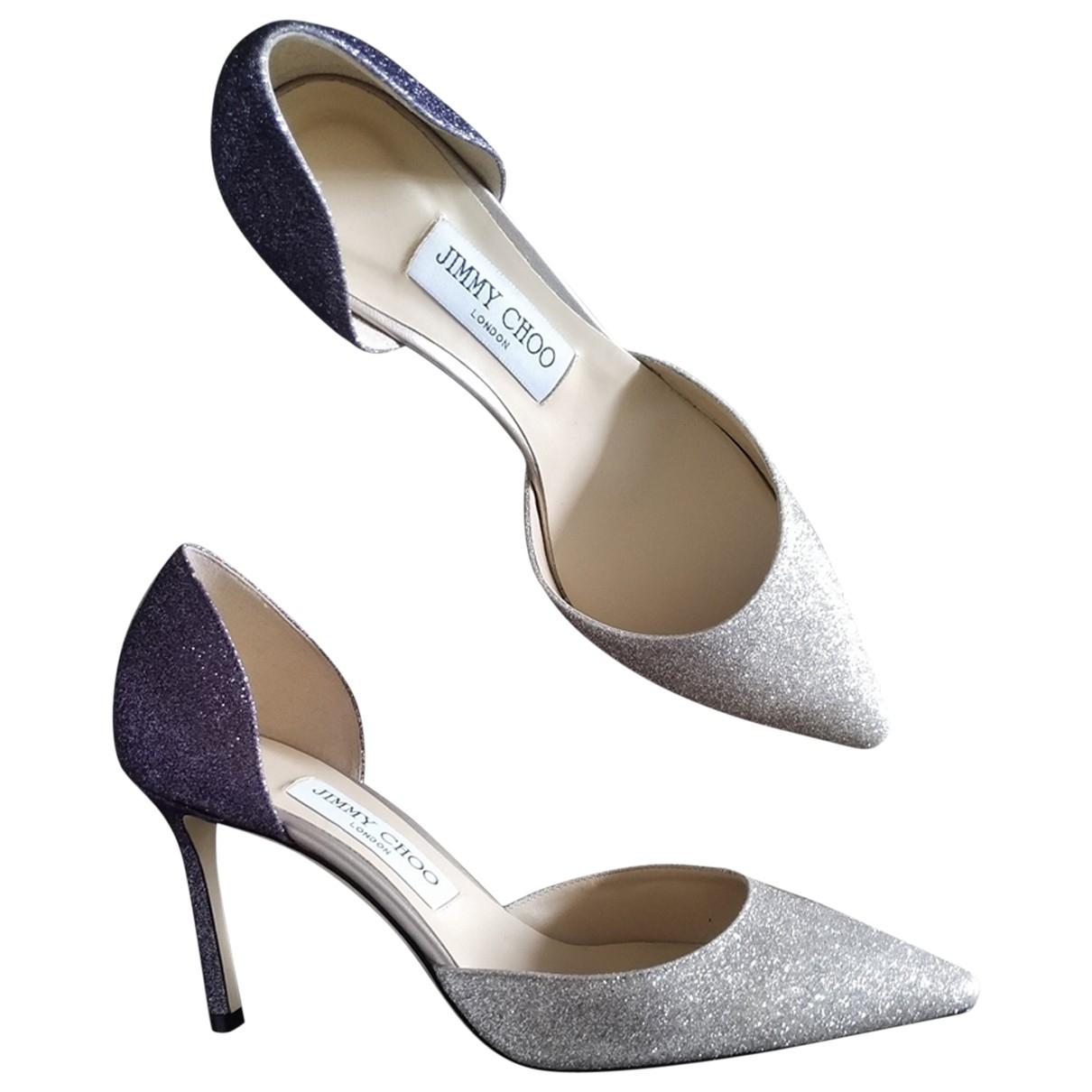 Jimmy Choo \N Silver Glitter Heels for Women 37.5 EU