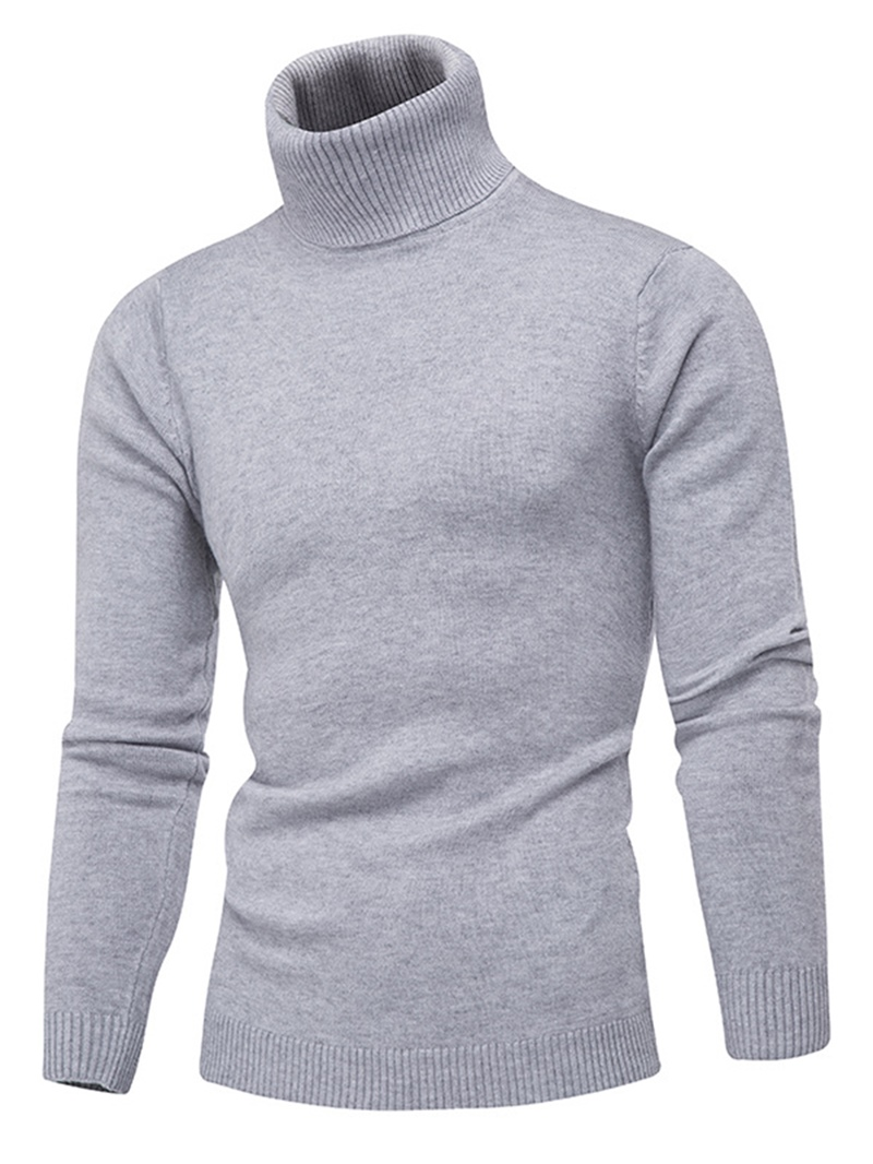 Ericdress High Neck Plain Men's Slim Sweater