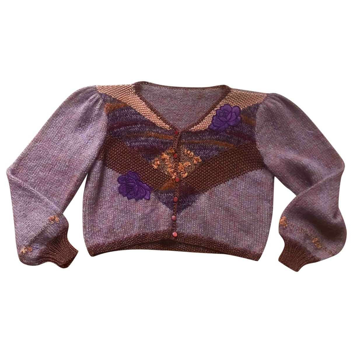 Non Signé / Unsigned Manche ballon Multicolour Wool Knitwear for Women 40 FR