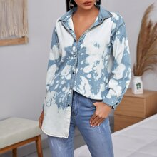 Tie Dye Curved Hem Denim Jacket