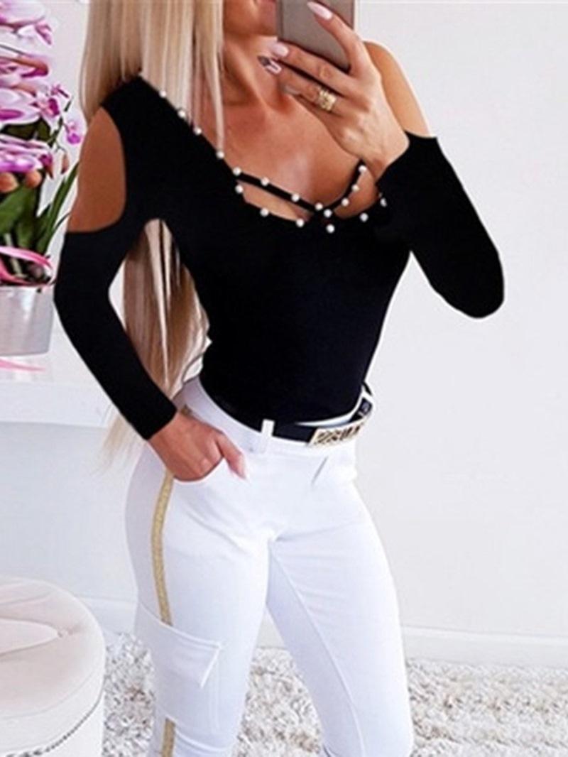 Ericdress Plain Long Sleeve Standard Casual Women's Slim T-Shirt
