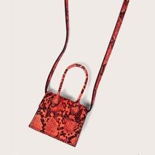 Mini Snakeskin Print Satchel Bag