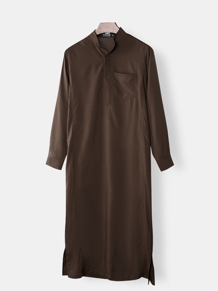 Mens Saudi Arabian Vintage Long Sleeve Thobe Islamic Muslim Robe