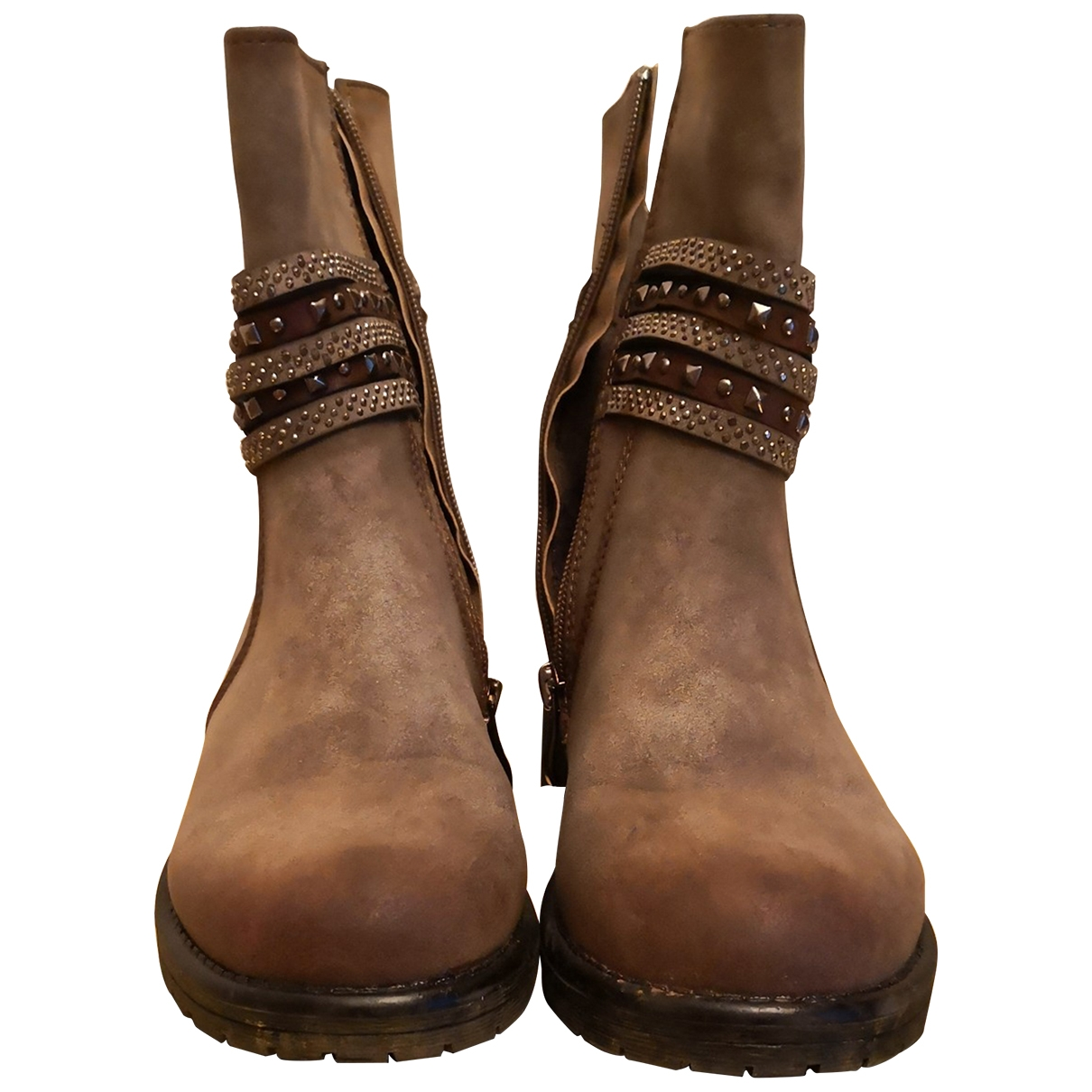 Non Signé / Unsigned \N Camel Suede Ankle boots for Women 36 EU