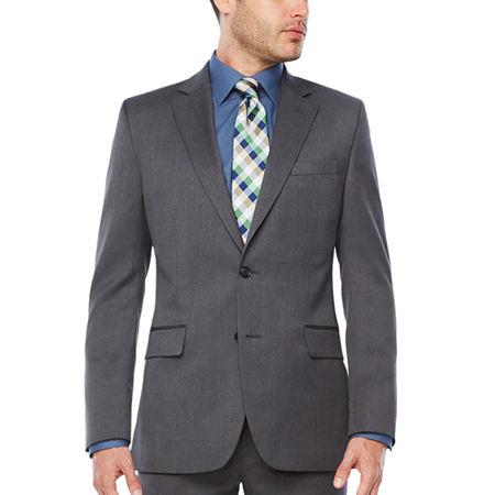 Stafford Mens Stretch Slim Fit Suit Jacket, 46 Short, Gray
