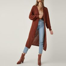 Bishop Sleeve Open Front Rib-knit Coat