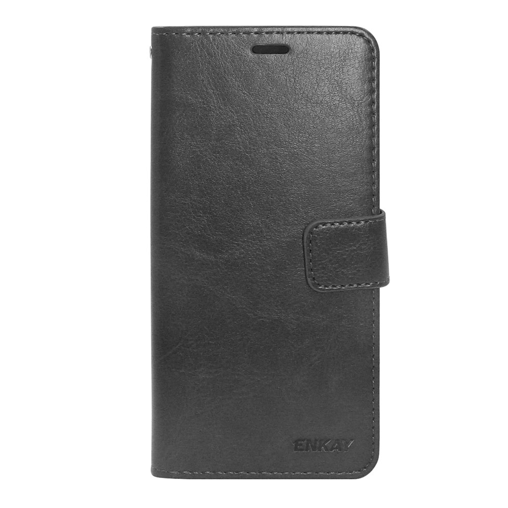 ENKAY PU Crazy Horse Leather Case For Huawei P20 Lite/Nova 3E With Card Slot Stand Function - Black