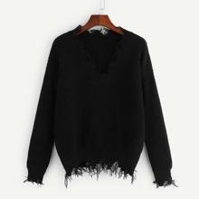 Distressed Trim Jumper Sweater