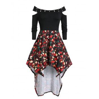 Plus Size Off The Shoulder Grommet High Low Floral Dress