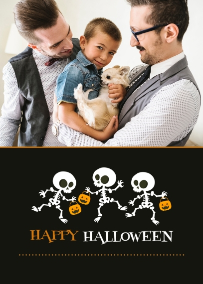 Halloween Photo Cards 5x7 Folded Cards, Premium Cardstock 120lb, Card & Stationery -Skeleton Parade