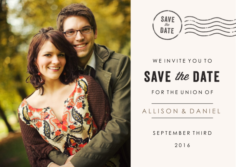 Save the Date 5x7 Cards, Premium Cardstock 120lb with Rounded Corners, Card & Stationery -Signed Sealed Delivered