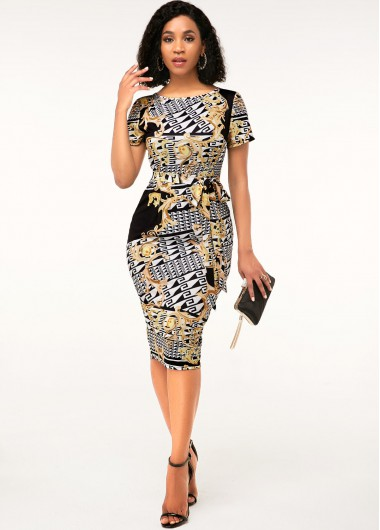 Cocktail Party Dress Round Neck Short Sleeve Geometric Print Sheath Dress - XS