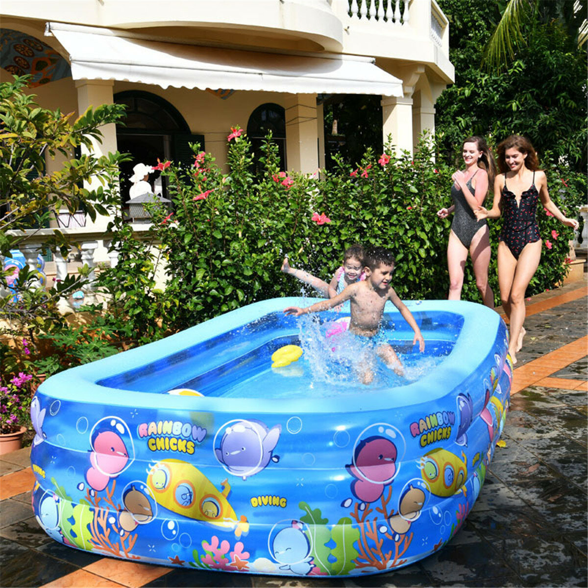 Inflatable Swimming Pool Children Family Pool Adult Paddling Pool Cartoon Chick Rainbow Pool