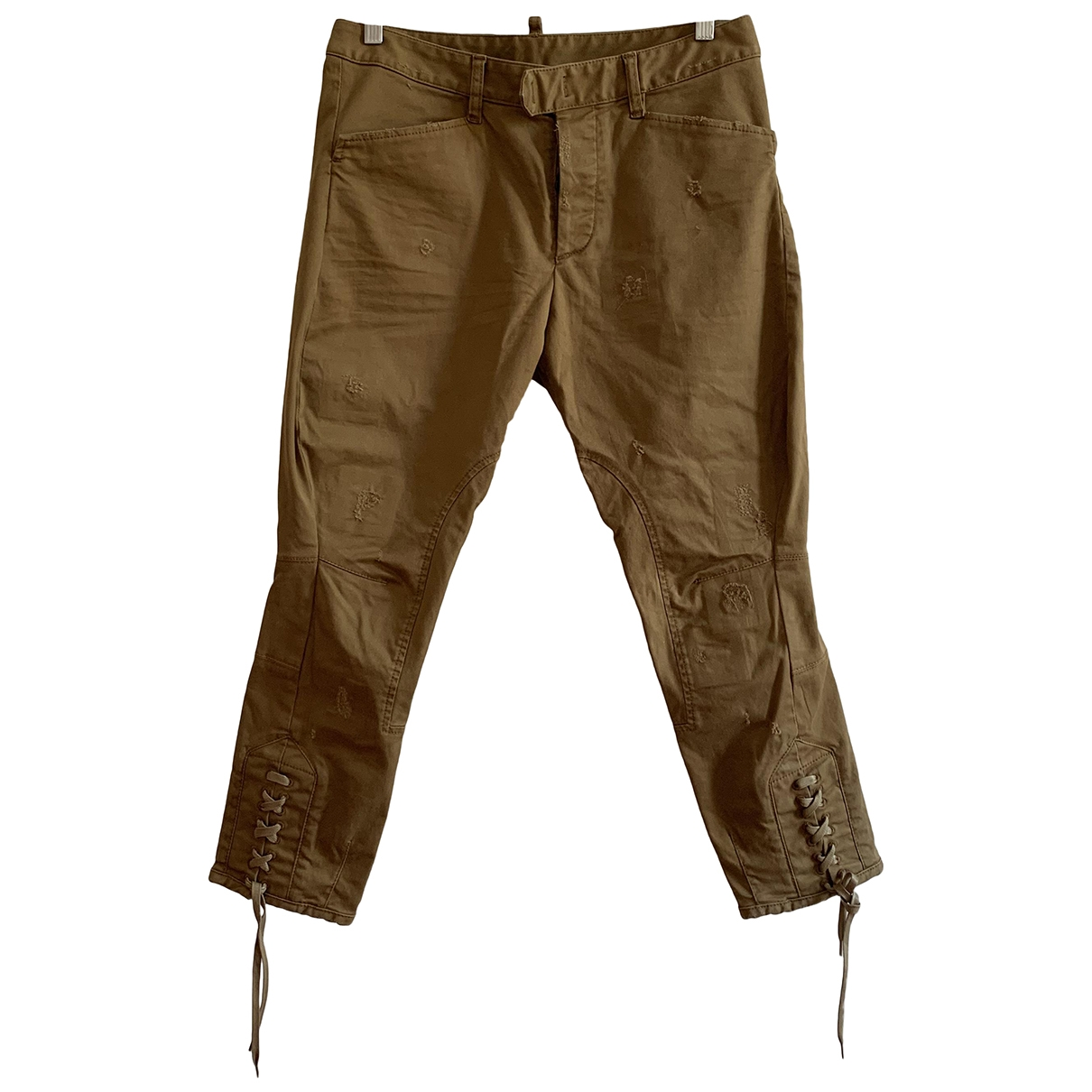 Dsquared2 \N Camel Cotton Trousers for Women 40 IT