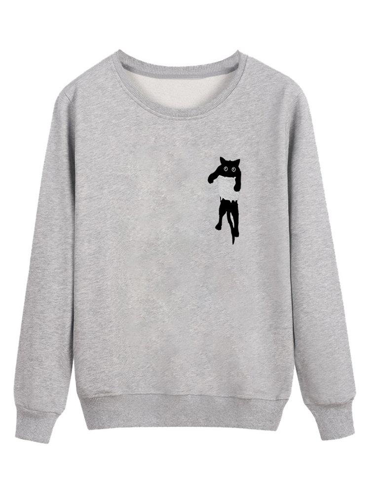Cute Cat Print Long Sleeve Round Neck Sweatshirt