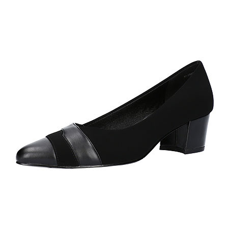 Easy Street Womens Elle Pumps Block Heel, 7 1/2 Wide, Black