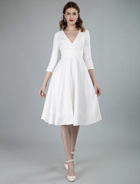 Milanoo Short Wedding Dresses V Neck 3/4 Length Sleeves A-Line Knee Length Bridal Dress