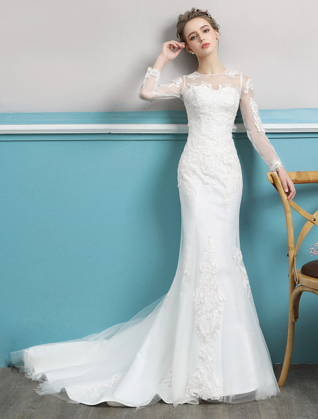 Milanoo Mermaid Wedding Dresses Long Sleeve Ivory Lace Illusion Train Bridal Gowns