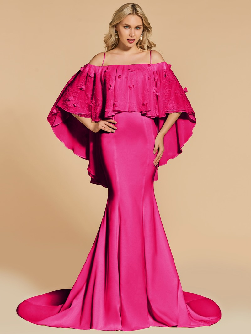 Ericdress Off The Shoulder Mermaid Evening Dress With Lace Cape