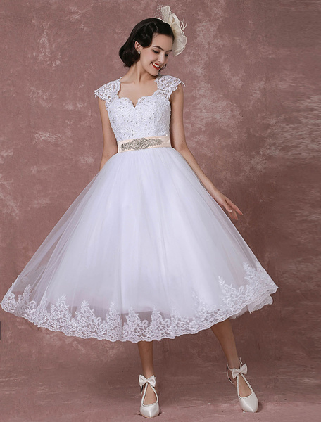 Milanoo Vintage Wedding Dress Short Lace Tulle Bridal Gown Back Design Tea-length A-line Reception Bridal Dress With Rhinestone Detachable Bow Sash