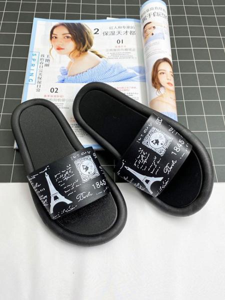Milanoo Sandal Slippers Pink Round Toe Slip-On Sandal Slides Women\'s Beach Slippers