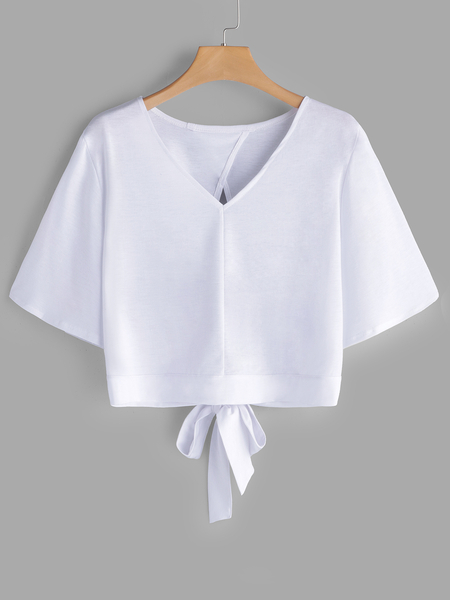 Yoins White Cut Out V-neck Half Sleeves T-shirts