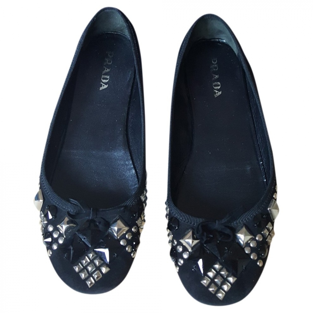Prada \N Black Leather Ballet flats for Women 36.5 EU