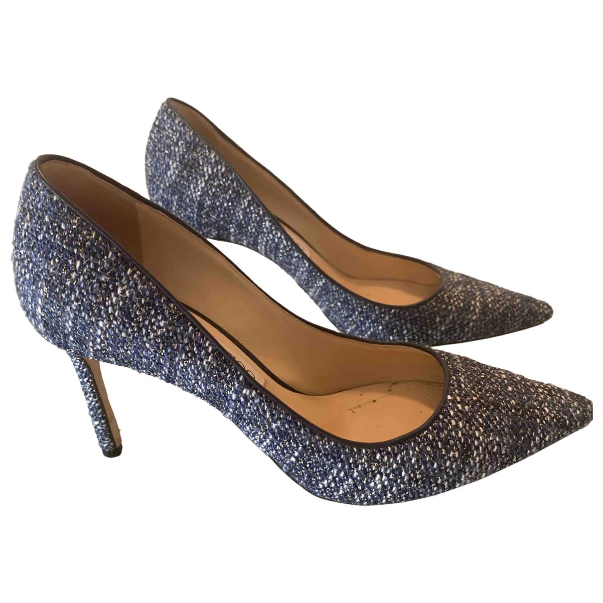 Jimmy Choo Romy Blue Tweed Heels for Women 38 EU