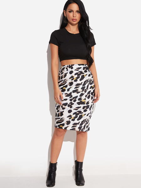 Yoins White Leopard High-Waisted Bodycon Hem Knee Length Skirts