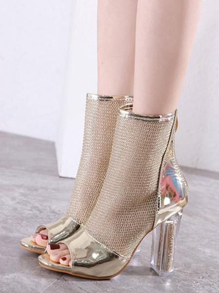 Milanoo High Heel Booties Gold Open Toe Cut Out Zip Up Summer Boots