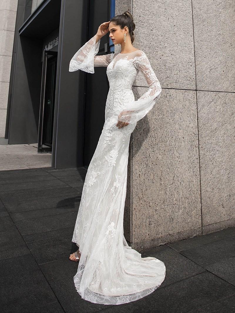 Ericdress Long Sleeves Floor-Length Court Sheath/Column Hall Wedding Dress 2020