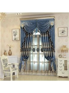 European Style Exquisite Embroidery Blue High Quality Breathable Sheer Curtains