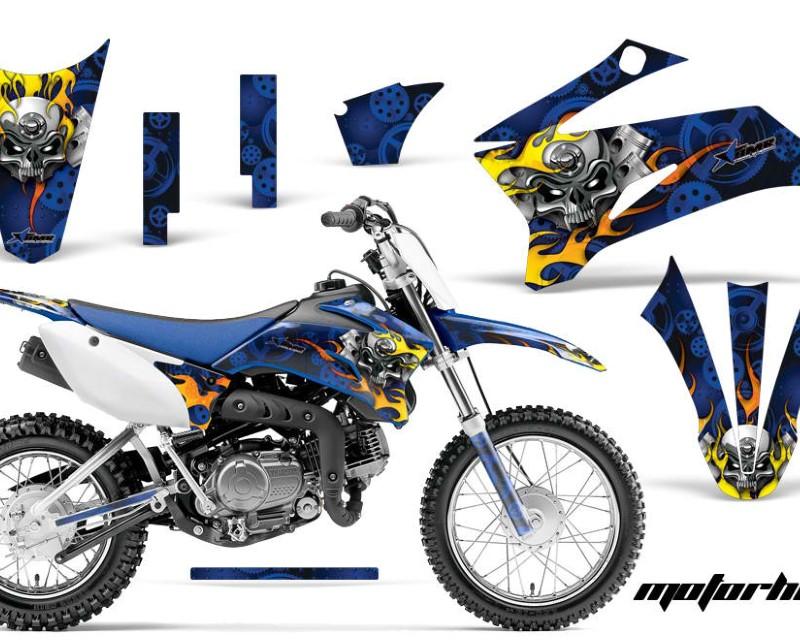 AMR Racing Dirt Bike Graphics Kit Decal Sticker Wrap For Yamaha TTR110 2008-2018áMOTORHEAD BLUE