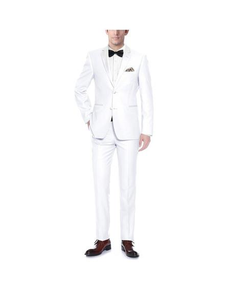 Verno Mens White Notch Lapel Classic Fit  Tuxedo with Ribbon Finish