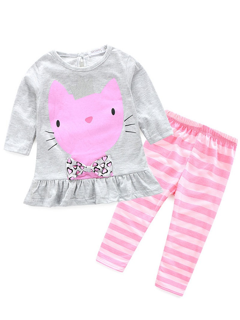 Ericdress Cotton Cute Cat Long Sleeve Stripe Pant Baby Girls Outfit Set