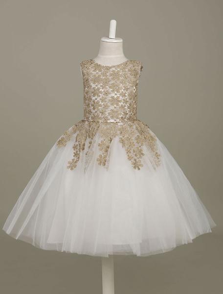 Milanoo Flower Girl Dress Lace Light Gold Tutu Dress Sleeveless A Line Knee Length Toddler's Pageant Dress