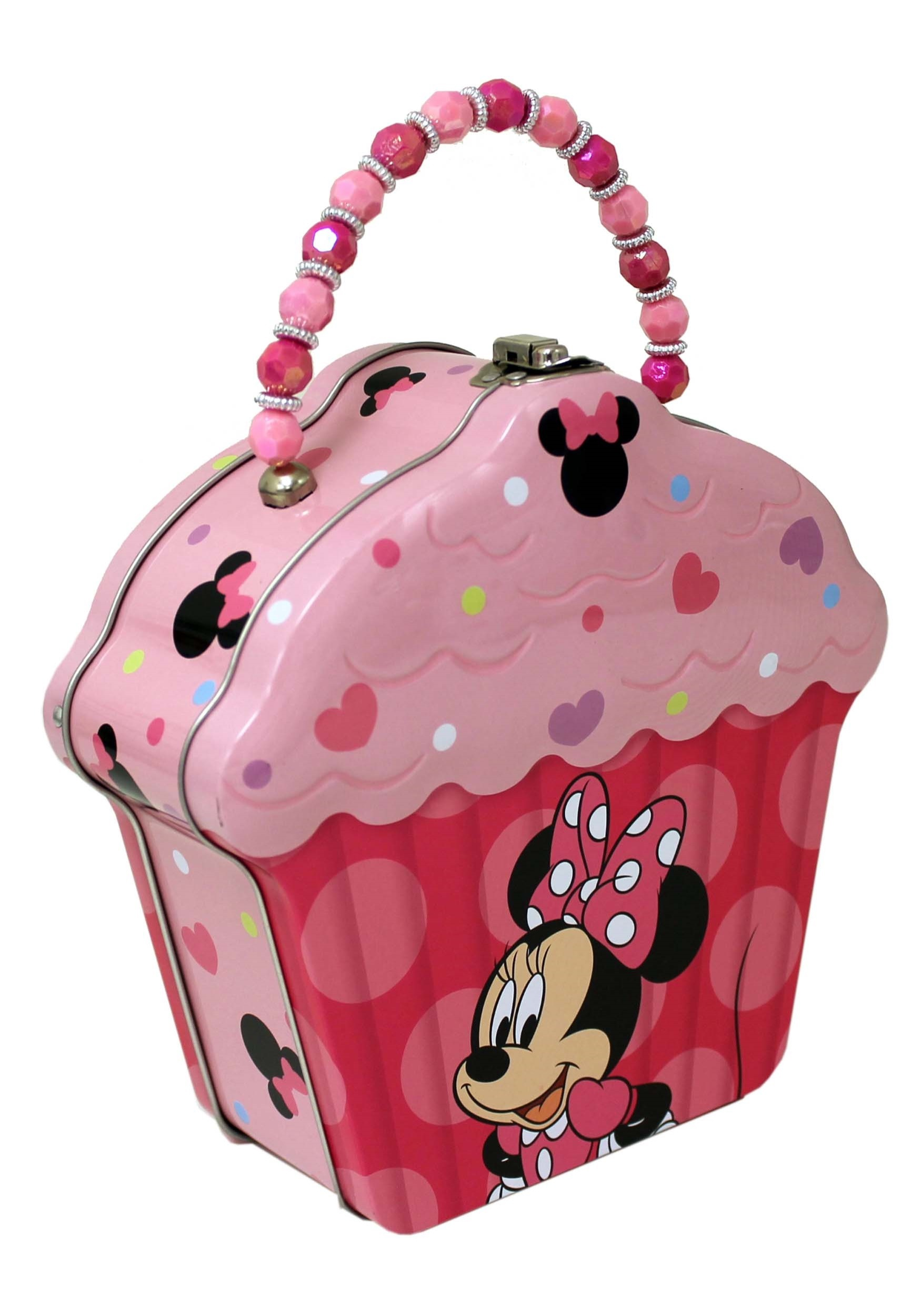 Minnie Mouse Embossed Cupcake Tin Purse w/ Beaded Handle