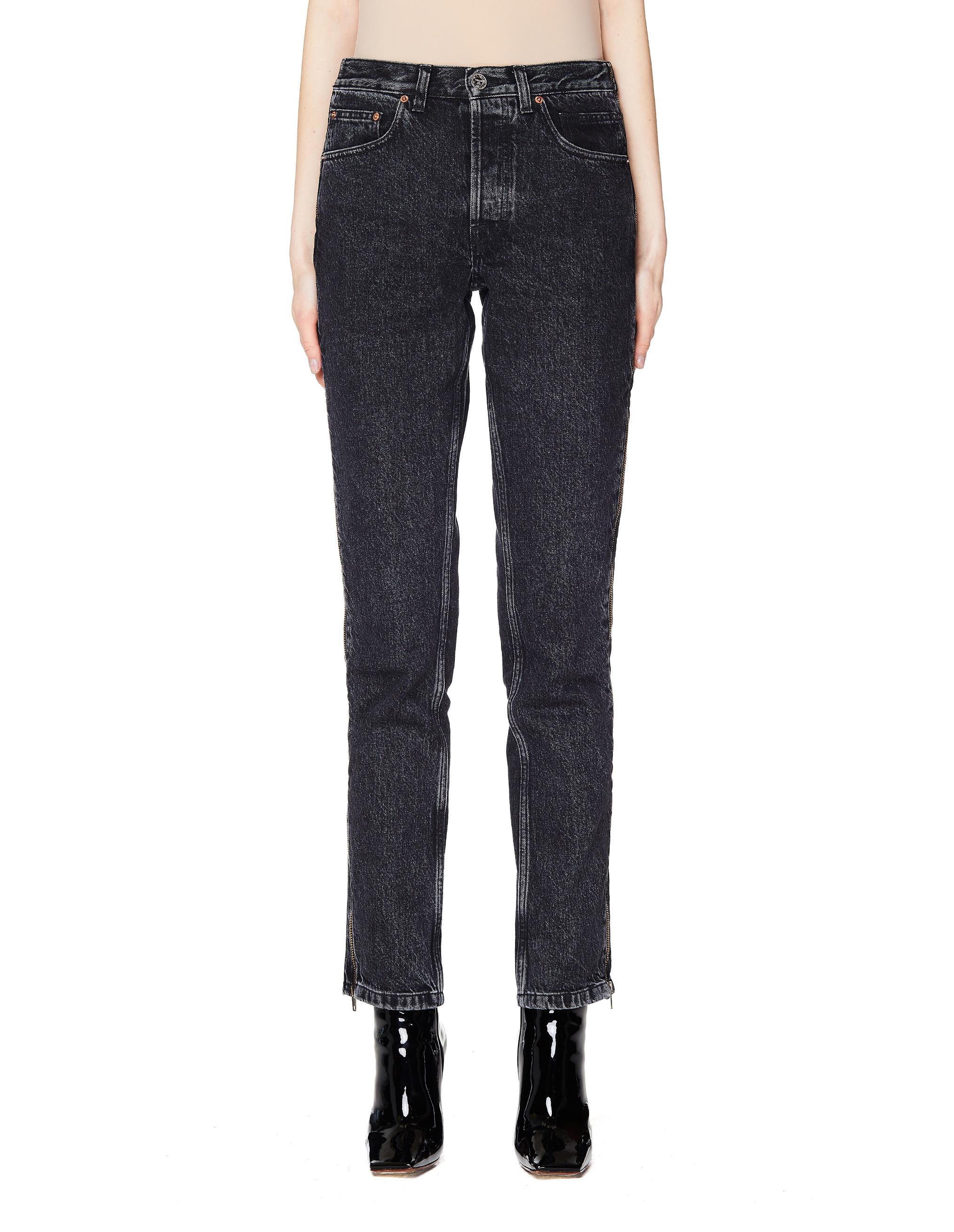 Vetements Black Cotton Side Zip Jeans