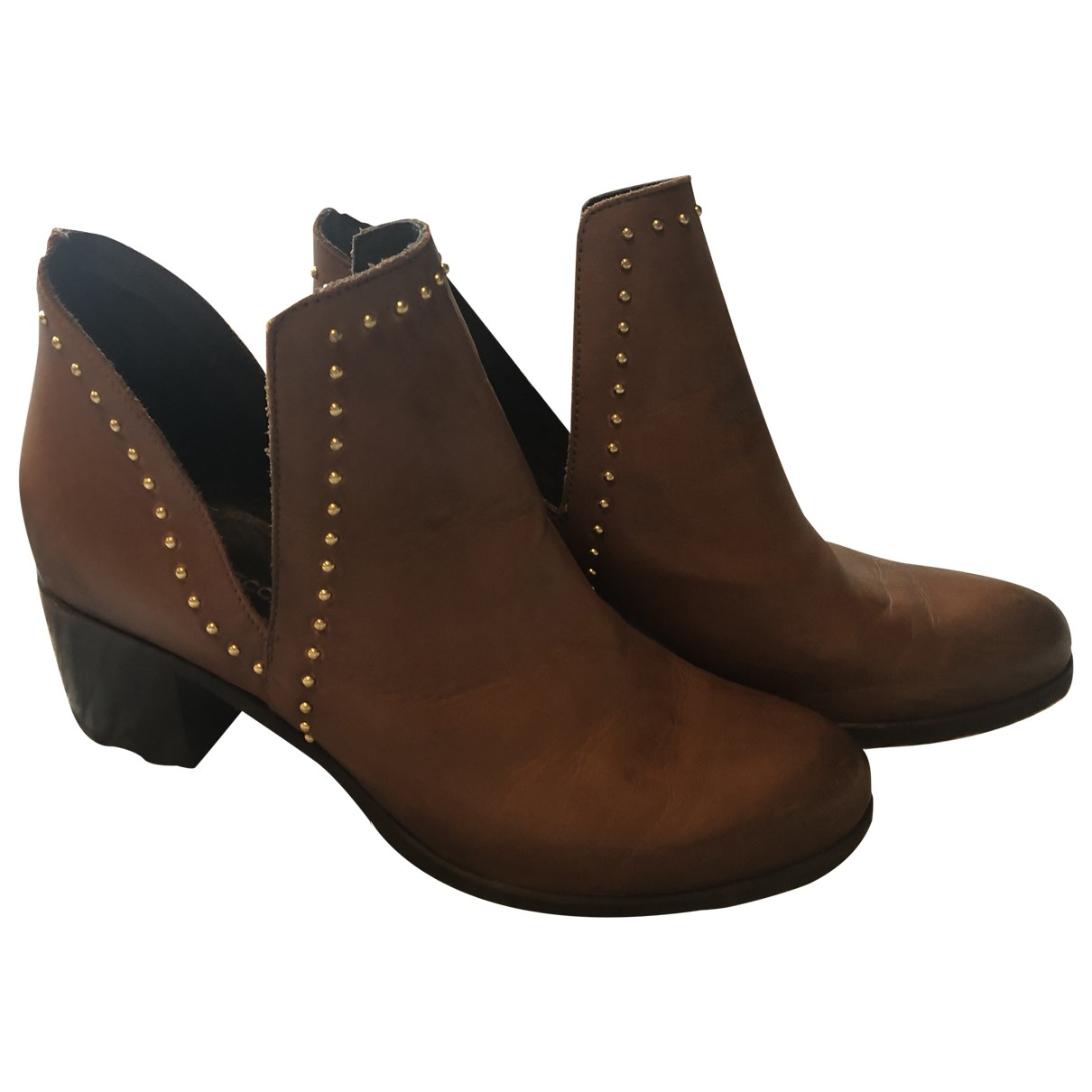 Non Signé / Unsigned \N Camel Leather Ankle boots for Women 39 EU