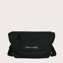 Letter Graphic Flap Crossbody Bag