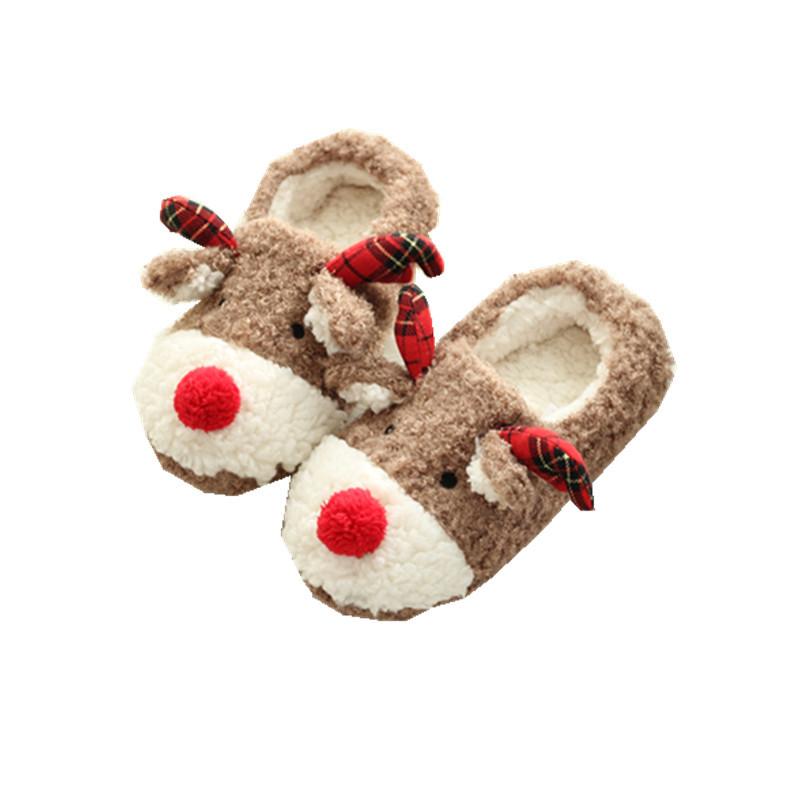 Cute Cartoon Christmas Elk Thick-soled Slippers