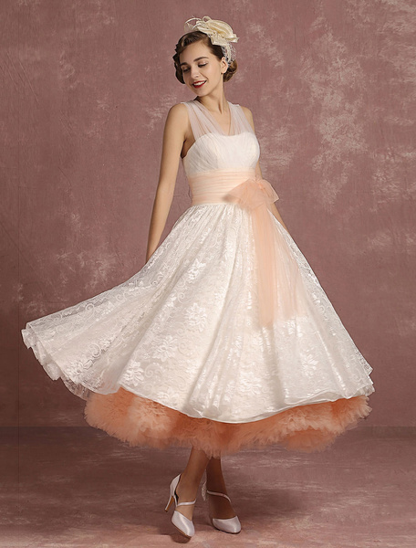 Milanoo Vintage Wedding Dresses Lace V Neck Sleeveless Bridal Gown A Line 2 Colors Tiered Ribbon Bow Sash Tea Length Bridal Dress